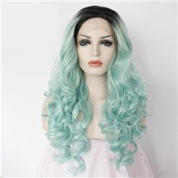 Ombre Black To Green High Temperature Fiber Body Wave Style Front Lace Wig For Women
