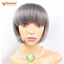 Skybird Bob Women Grey Synthetic Short Straight High Temperature Hair Cosplay Wigs
