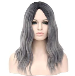 European Style Hair Wig COS Wig Women's Fashion Long Curly Hair Wig Gray Fading