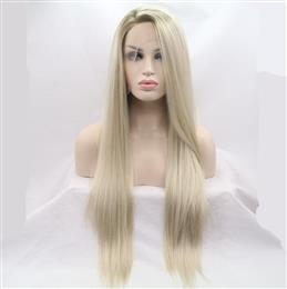 Ombre Blonde Synthetic Lace Front Wig For Women Side Part Long Silky Str...