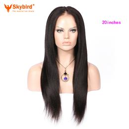 Skybird 20 inches Yaki Straight Pre Plucked Hairline Lace Front Brazilian Human Hair Wigs Natural Color Hair Wigs