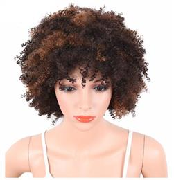 Short Women Wigs Afro Kinky Curly Black To Brown Color Natural Hair