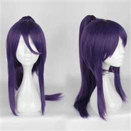 50CM Synthetic Short Straight With ponytail Dark Purple Color Cosplay Wigs