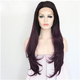 1B Ombre Purple Two Tone Color Hair Synthetic Lace Front Party Wig for Women Party