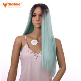 Skybird 22 inch Ombre Mint Green Synthetic Lace Front Wig Sliky Straight Long Cosplay Wig Ombre Synthetic wigs