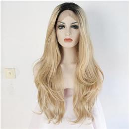 Black Root Ombre Blonde Two Tone Color Perruque Women Natural Wave Synthetic Lace Front Party Wig