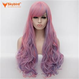 Skybird 30 Inches Synthetic Women Curly Highlight Pink With Blue Cosplay Party Long Hair Full Wigs