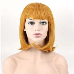 Orange color Neat Bang Short Wavy Wig Synthetic For Hair Cosplay Wig 30c...
