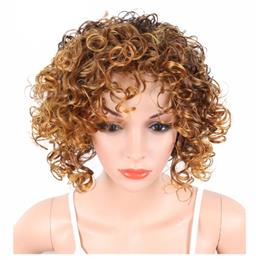 Blonde Color Short Kinky Curly Wigs For Black White Women Naturally Synt...