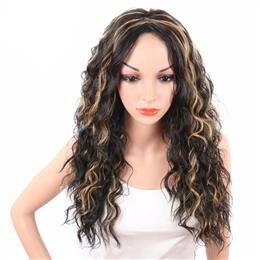 Long Bouncy Curly Synthetic Women's Wig Natural Black Mix Blonde Col...