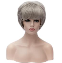 Cosplay Straight Synthetic Hair Wigs Women Short Hair Wig Gray and White