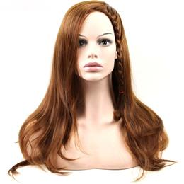 Synthetic Hair Long Wavy Wig Hand Tied Brown Women Cosplay Wig 24inch Fr...