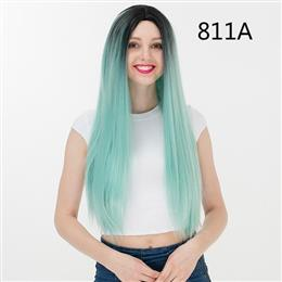 70CM Synthetic Mix Color Straight Party Cosplay Wig 100% High Temperature Fiber Hair