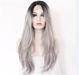 Lace Part Handmade Black Ombre Grey Hair Perruque Party Synthetic Lace Front Wig For Women