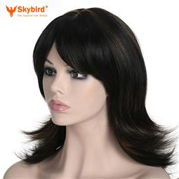Skybird Big Wavy Black With Brown Highlight Long Syntheic Wigs Fake Hair