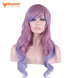 Skybird Women Long Curly High Temperature Fiber Synthetic Hair Cosplay Wigs Purple Root Pink Ombre Color