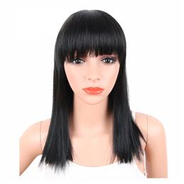 Straight Black Synthetic Wigs With Bangs For Women Medium Length Hair Na...