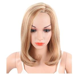 20 Inch Medium Length Synthetic Women's Bob Wigs Natural Blonde Color Body Wave Wig