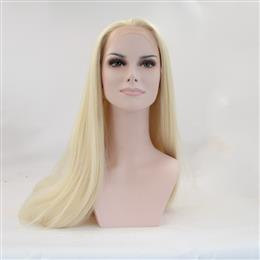 Front Wigs Heat Resistant Fiber Light Blonde Long Straight Synthetic Lac...