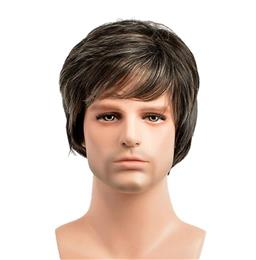 Short Straight Men's Wigs Pixie Cut Natural Brown Color Synthetic Men's Wig With Bang For Male