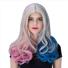 COS Synthetic Wig Non-mainstream Anime Cosplay Wig Halloween Theme Wig Long Curly Hair Wigs Pink+Blue