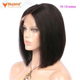 Skybird 10-12 inches Natural Color 130% Density Silky Straight Short Bob Wigs Brazilian Non-Remy Human Hair Wigs Pre Plucked lace Front Wigs