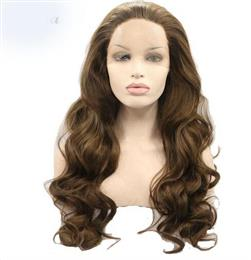 Brown Color Long Body Wave Heat Resistant Fiber Hair Synthetic Lace Front Wig for Women