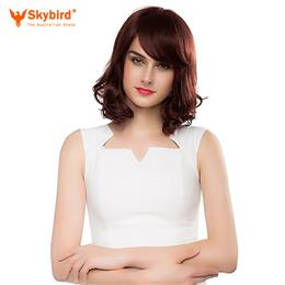 Skybird Real Human Hair Wig Middle Long Curly Hair Dark Brown