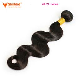 Skybird 20-24inches Brazilian Body Wave Bundles Human Hair Weft Natural Black Color  Hair Extensions Can Be Dyed