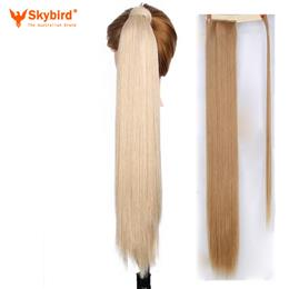 Skybird100g Available High Temperature Fiber Synthetic Fake Hair Wraparound Ponytail Extensions For Women
