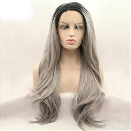 Black/Grey Two Tone Ombre Straight Synthetic Lace Front Wigs Silver Grey Long Straight Wig with Dark Roots