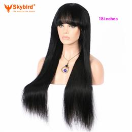 Skybird 18 inches  Silky Straight Human Hair Lace Front Wigs With Bangs ...