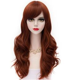 New Fashion Cosplay COS Wigs Airy Long Curl Hair Wigs Red Brown