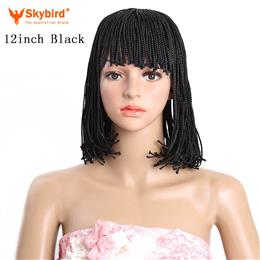 Skybird Short Bob Wig Synthetic Black Brown Braid Heat Resistant Wigs for Women 12inch