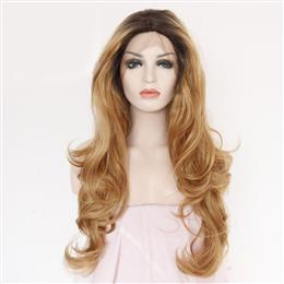 Synthetic Lace Front Wig Black Ombre  brown Hand Tied Glueless Body Wave Masquerade Party Wig For Women