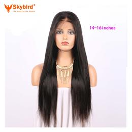 Skybird 14-16 inches Hair 180% Density 360 Lace Frontal Wig Pre Plucked Natural Hairline Straight Brazilian Remy Hair Lace Wigs With Baby Hair