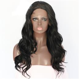 Synthetic Lace Front Wig Wave Type Black Color Hand Tied Lace Part Heat Resistant Hair Lace Front Party Wig