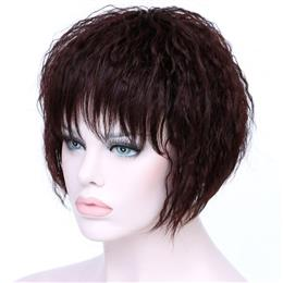 Short Brown Kinky Curly Hair Wig Women Wigs 99J Red