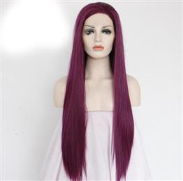 Wine Red Color High Temperature Heat Resistant Hair Hand Tied 150% Densi...