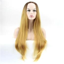 "Synthetic Hair 28"" Long Straight Ombre Blonde Wig For Women Wigs"