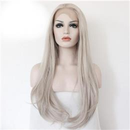 Platinum Blonde Loose Wave Synthetic Lace Front Wig Natural Long Fiber H...