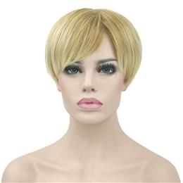 Short Straight Synthetic Hair Wig Heat Resistance Fiber Hair Blonde Burgundy Cosplay Wigs Party Hair for Women