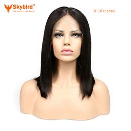 Skybird 8-10inches Human Hair Short Bob Wigs For  Women Brazilian Remy Hair Lace Front Human Hair Wigs Bleached Knots