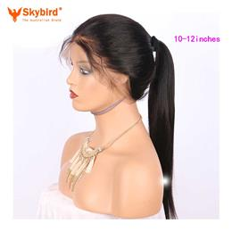 Skybird 10-12 inches Hair 180% Density 360 Lace Frontal Wig Pre Plucked Natural Hairline Straight Brazilian Remy Hair Lace Wigs With Baby Hair