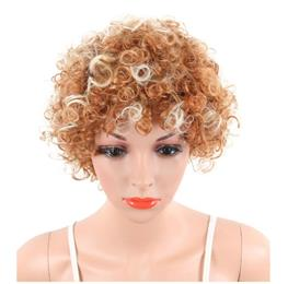 Short Kinky Curly Wigs For Black White Women Naturally Synthetische African Amercian Blond Mix White Hair Wigs With Bangs