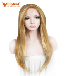 "Skybird Straight Synthetic Dark Yellow Mix Honey Blond 24"" Lace Fro..."