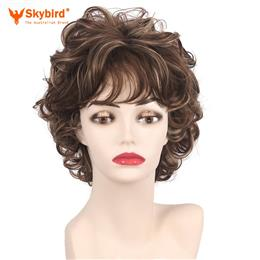 Skybird Short Cut Curly Synthetic Hair Ladies Natural Fluffy Layered Wig With Bangs