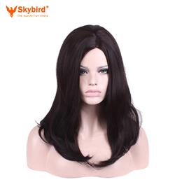 Skybird Natural Black Long Synthetic Wigs Central Part Straight Hair He...