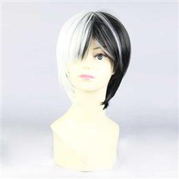 Unisex Short Black White Synthetic Party Straight Hair Cosplay Full Wigs