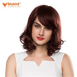 Skybird Medium Length Wave Wigs With Side-Swept Bangs Popular Human Hair Wigs For Women